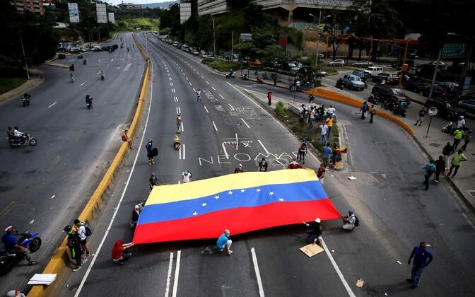 Venezuela lipp meeleavaldusel presidendi Nicolas Maduro valitsuse vastu.
