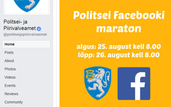 The Estonian police are holding a 24-hour Facebook marathon for the fifth time.