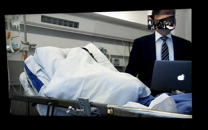 Haiglas viibiv peamine kahtlusalune osales kohtuistungil video vahendusel.