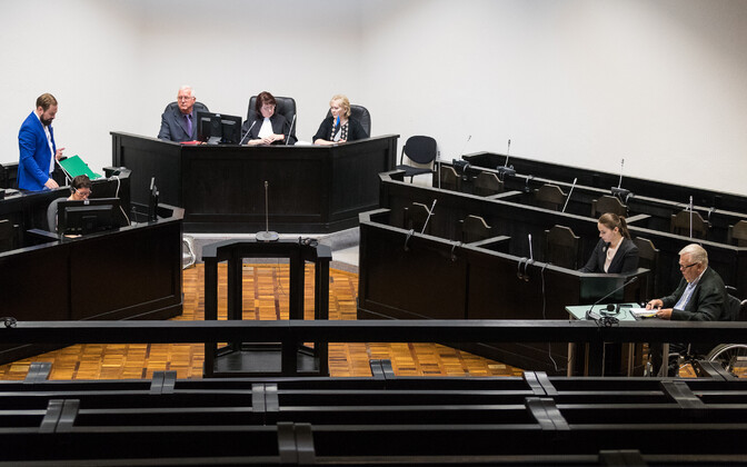 The Savisaar trial underway in a courtroom at Harju County Court.