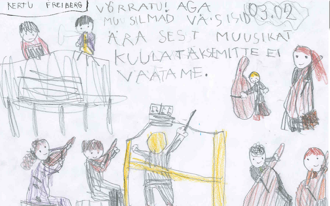 A child's drawing reflecting on an ERSO concert.