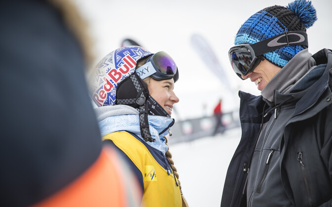 Estonian skier Kelly Sildaru and her father and trainer Tõnis Sildaru.