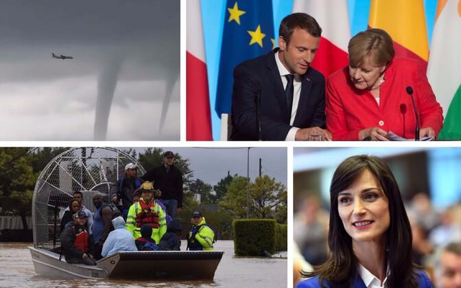 Reisilennuk Sotši lähistel tornaadodele lähenemas, Macron ja Merkel, vabatahtlikud päästjad Houstonis inimesi evakueerimas ja digitaalmajanduse volinik Mariya Gabriel.