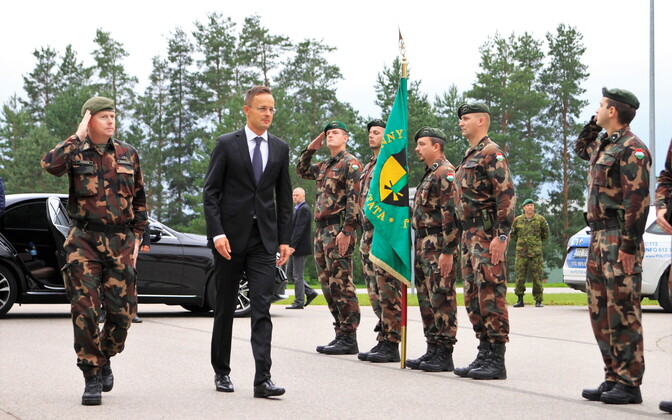 Hungarian Minister of Foreign Affairs and Trade Péter Szijjártó visited Taara Army Base on Friday. Sept. 1, 2017.