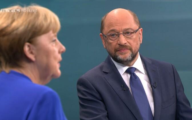 Martin Schulz ja Angela Merkel teledebatis.
