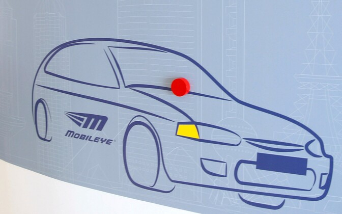 Signage at the Jerusalem offices of Israeli driving assistant software Mobileye.