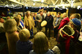 Roland Campbell (center, with drum) leads group in singing a runic song he wrote for MÜ.