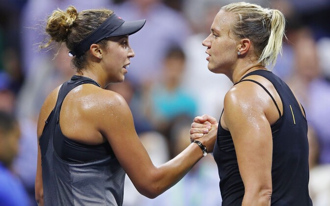 American Madison Keys and Kaia Kanepi (right) after the US Open quarterfinals. Sept. 6, 2017.
