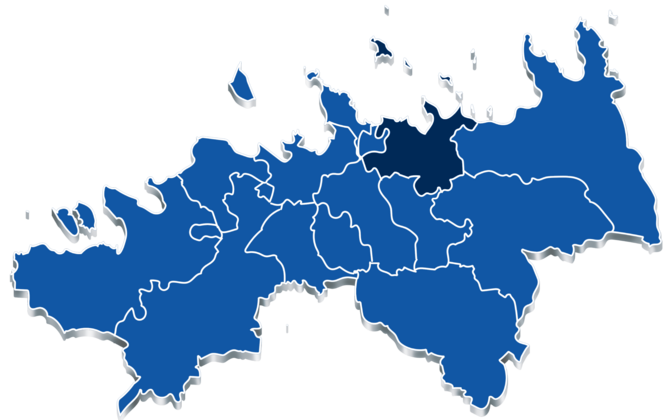 Jõelähtme Municipality, denoted here in darker blue, is located in Harju County, east of the capital of Tallinn.