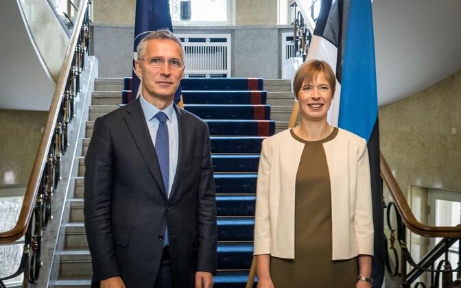 NATO Secretary General Jens Stoltenberg met with President Kersti Kaljulaid in Tallinn on Thursday. Sept. 7, 2017.