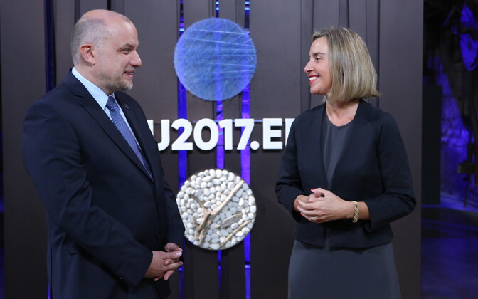 Minister of Defence Jüri Luik and High Representative of the European Union for Foreign Affairs and Security Policy Federica Mogherini