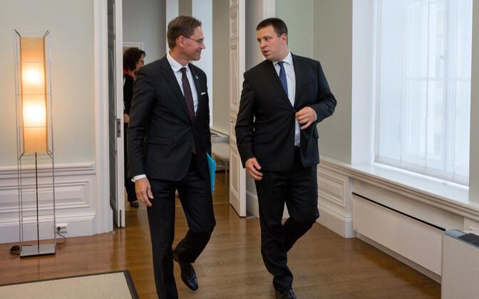 Commission Vice-President Jyrki Katainen and Prime Minister Jüri Ratas in Tallinn on Thursday. Sept. 7, 2017.