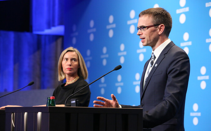 High Representative of the Union for Foreign Affairs Federica Mogherini and Foreign Minister Sven Mikser (SDE) at the second day of the informal meeting of EU foreign ministers (Gymnich) in Tallinn. Sept. 8, 2017.