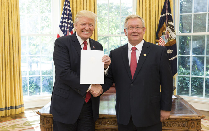 U.S. President Donald Trump and Ambassador Lauri Lepik.