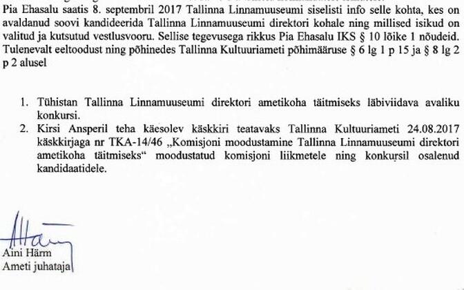 Aini Härmi käskkiri, millega tühistati linnamuuseumi direktori konkurss.