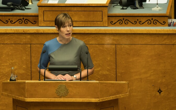 President Kersti Kaljulaid speaking at the opening fall session of the Riigikogu on Monday. Sept. 11, 2017.