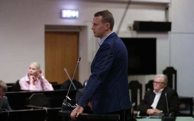 Priit Toobal in the courtroom at Harju County Court on Tuesday. Sept. 12, 2017.