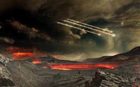 Asteroidipommitus kunstniku nägemuses.