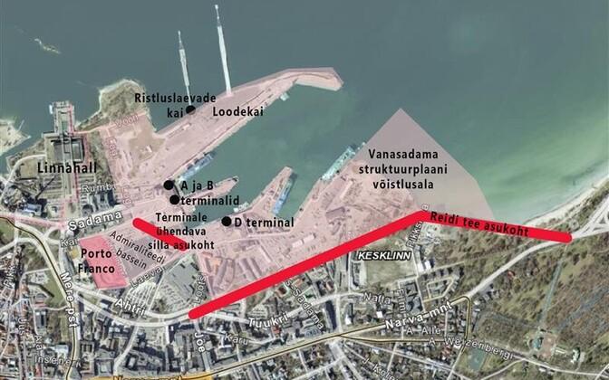 Tallinna kesklinna mereääre avamisest linnale ja linlastele on räägitud Eesti taasiseseisvumise algusest peale. Skeemil praegused plaanid.
