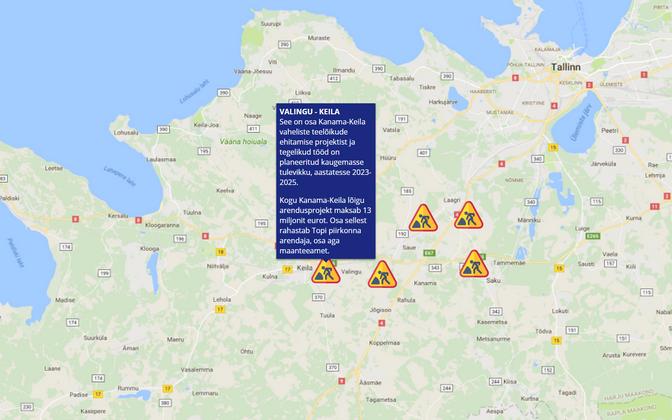 Tulevatel aastatel on Tallinna-Pärnu maantee läheduses oodata mitmeid teetöid.