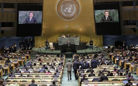 Prantsusmaa president Emmanuel Macron ÜRO peaassambleel.