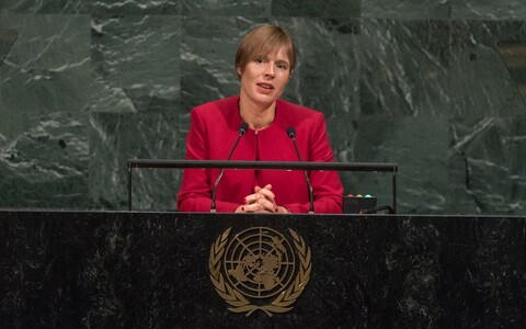 President Kersti Kaljulaid addressing the UN General Assembly on Tuesday. Sept. 19, 2017.