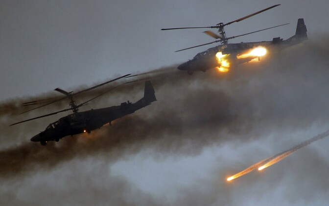 Russian attack helicopters in action during the Zapad 2017 exercise.