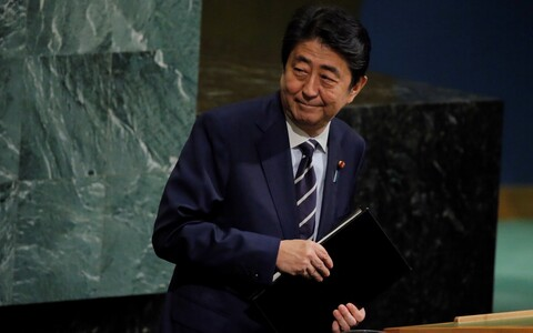 Japanese Prime Minister Shinzo Abe at the UN General Assembly.