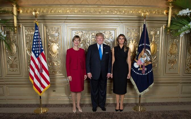 Eesti president Kersti Kaljulaid koos USA kolleegi Donald Trumpi ja tema abikaasa Melaniaga.