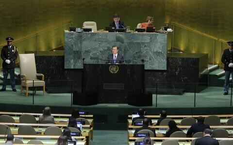 Lõuna-Korea president Moon Jae-in ÜRO Peaassambleel.