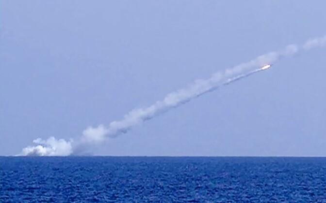 Запуск крылатой ракеты с российской подлодки.