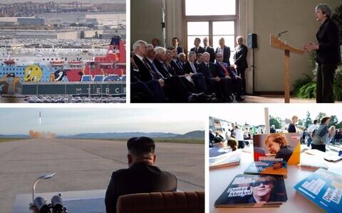 Parvlaev, millega toodi Barcelonasse märulipolitseinikke; Theresa May kõne Firenzes; Kim Jong-un raketikatetust jälgimas ja Angela Merkeli partei kampaaniavoldikud.