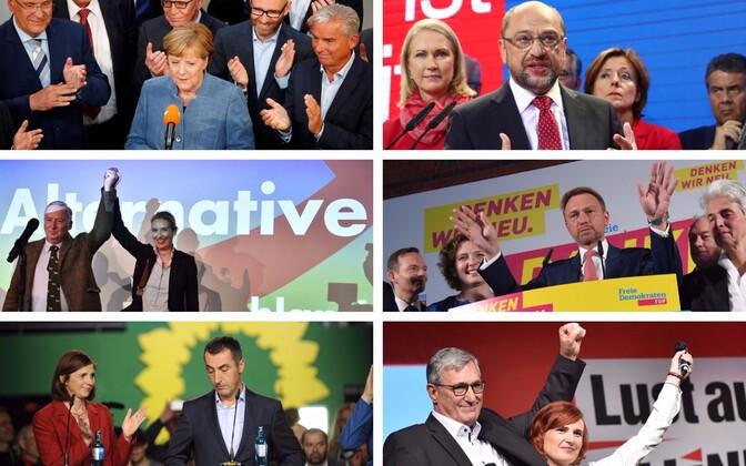 Angela Merkel (CDU), Martin Schulz (SPD), Alexander Gauland ja Alice Weidel (AfD), Christian Lindner (FDP), Katrin Goering-Eckardt ja Cem Özdemir (Rohelised), Bernd Riexinger ja Katja Kipping (Die Linke).