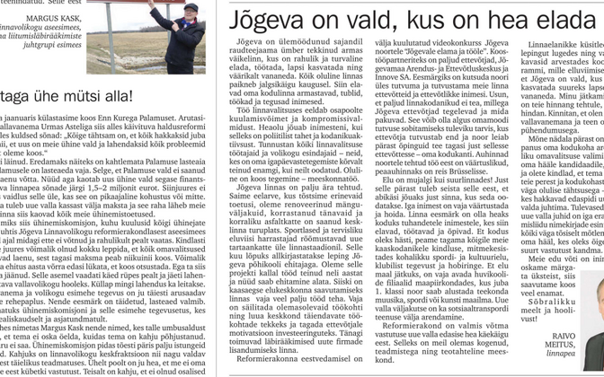 Front page of Jõgeva Municipality's local newsletter. Photo is illustrative.