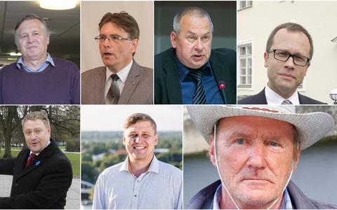 Tartu linnapeakandidaadid 2017. Ülal vasakult: Jüri Kõre, Indrek Särg, Aivar Riisalu, Urmas Klaas. All vasakult: Jarno Laur, Hannes Klaas ja Uuno Pungerjas.