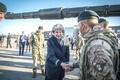 British Prime Minister Theresa May visiting British troops stationed at Tapa Army Base. Sept. 29, 2017.