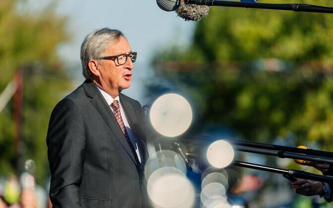 European Commission President Jean-Claude Juncker addressing journalists upon his arrival at the Tallinn Digital Summit on Friday. Sept. 29, 2017.