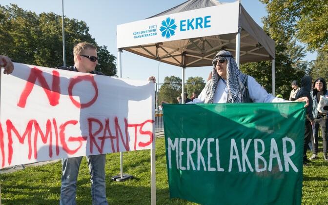 EKRE's protest at the Tallinn Creative Hub, Sep. 29, 2017.