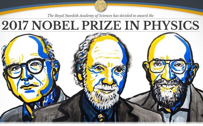 Лауреаты Нобелевской премии по физике Райнер Вейсс, Барри Бэриш и Кип Торн.