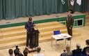 President Kersti Kaljulaid e-voted in front of students at Jüri High School on the first day of advance and online voting at the local elections, Thursday. Oct. 5, 2017. Source: (Siim Lõvi/ERR)