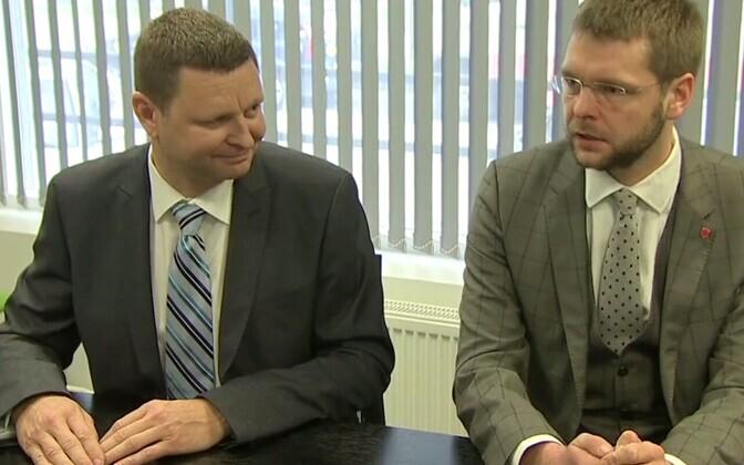 Haigekassa juht Rain Laane ja nõukogu esimees Jevgeni Ossinovski.