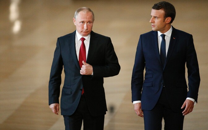 Putin ja Macron 29. mail Versailles' lossis.