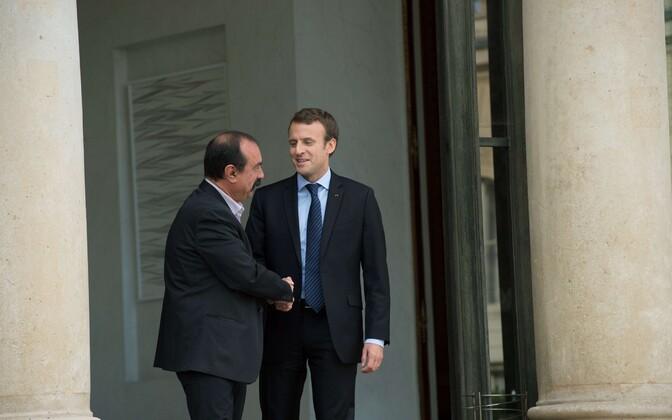 Ametiühingu CGT (Confédération générale du travail) peasekretär Philippe Martinez ja president Emmanuel Macron.