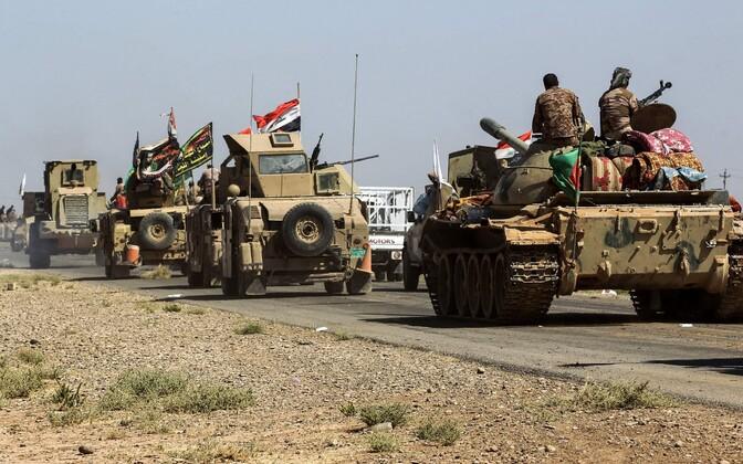 Iraagi valitsusväed ja rühmituse Hashed al-Shaabi võitlejad 6. oktoobril Kirkuki lähistel.