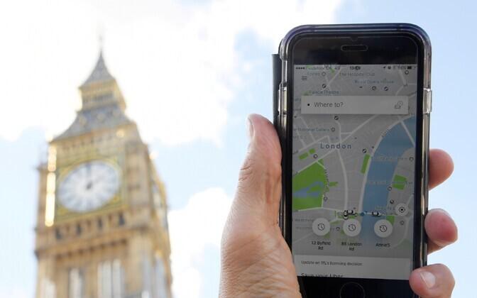Uberi mobiilirakendus Londonis.