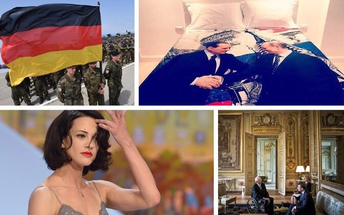 Saksa sõdurid õppusel Noble Partner Gruusias (AFP/Scanpix), Berlusconi poolt Putinile kingitud tekikott (Lenzuolissimi Instagrami konto), näitlejanna Asia Argento (AFP/Scanpix) ja Wolfgang Schäuble külas Emmanuel Macronil (SIPA/Scanpix).