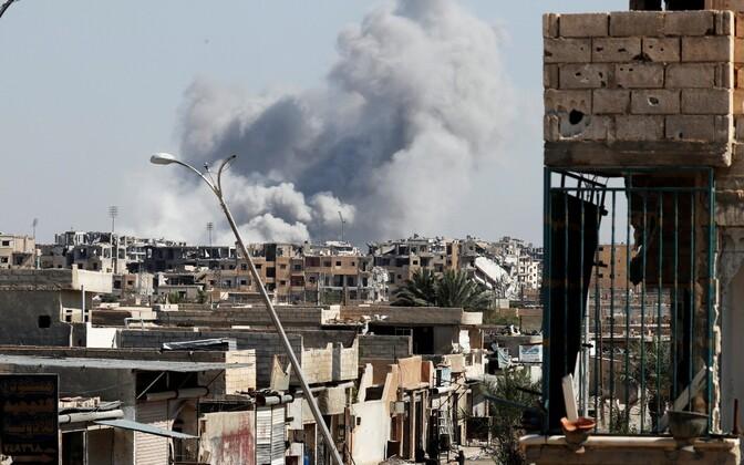 Õhurünnak Raqqas 12. oktoobril.