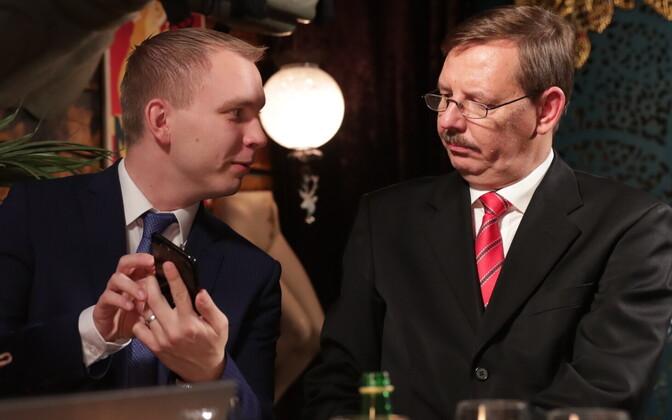 Taavi Pukk ja Taavi Aas Keskerakonna valimispeol.