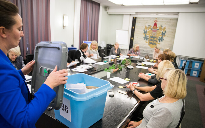 Paper ballots being counted in Tallinn the day after Election Day. Oct. 16, 2017.