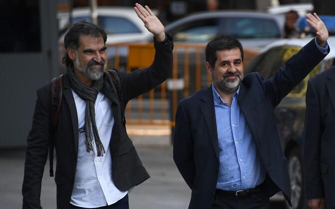 Kataloonia iseseisvusaktivistid Jordi Cuixart (vasakul) ja Jordi Sanchez.